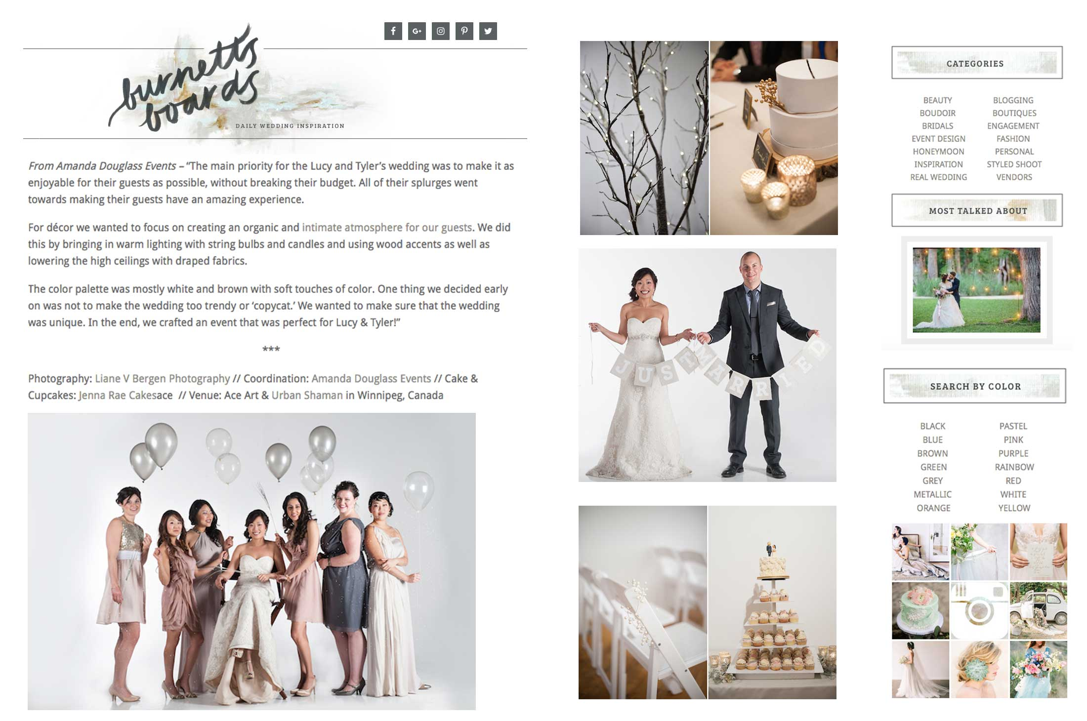 Winnipeg Wedding Planner and Inspiration Feature: Burnett's Boards