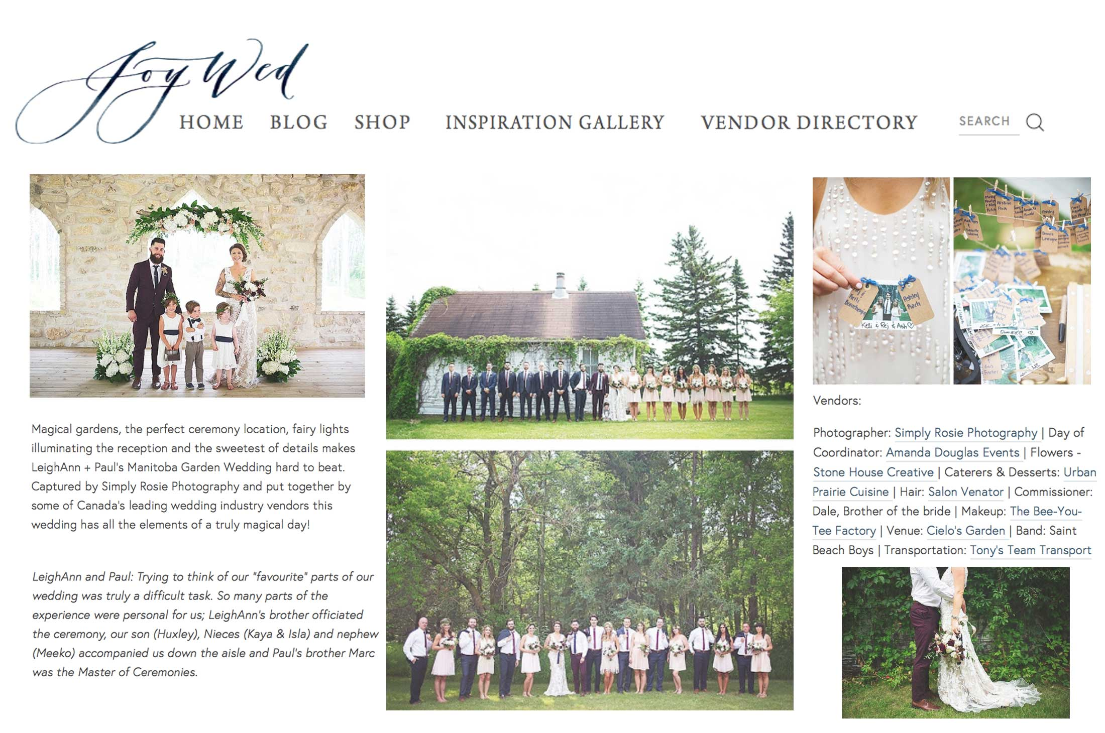 Winnipeg Wedding Planner and Inspiration Feature: Joy Wed