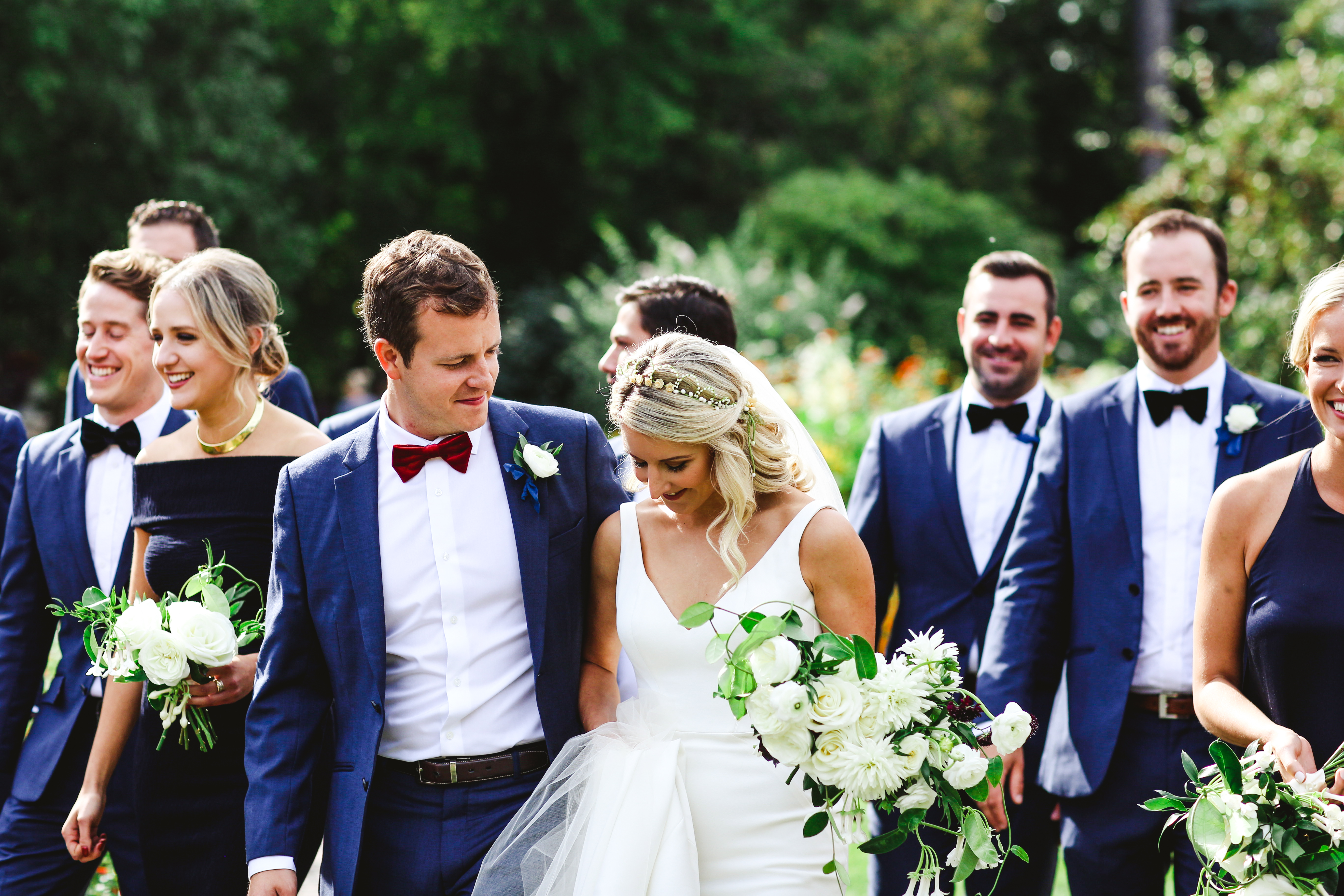 Wedding party walking - Mansion Wedding - Amanda Douglas Events