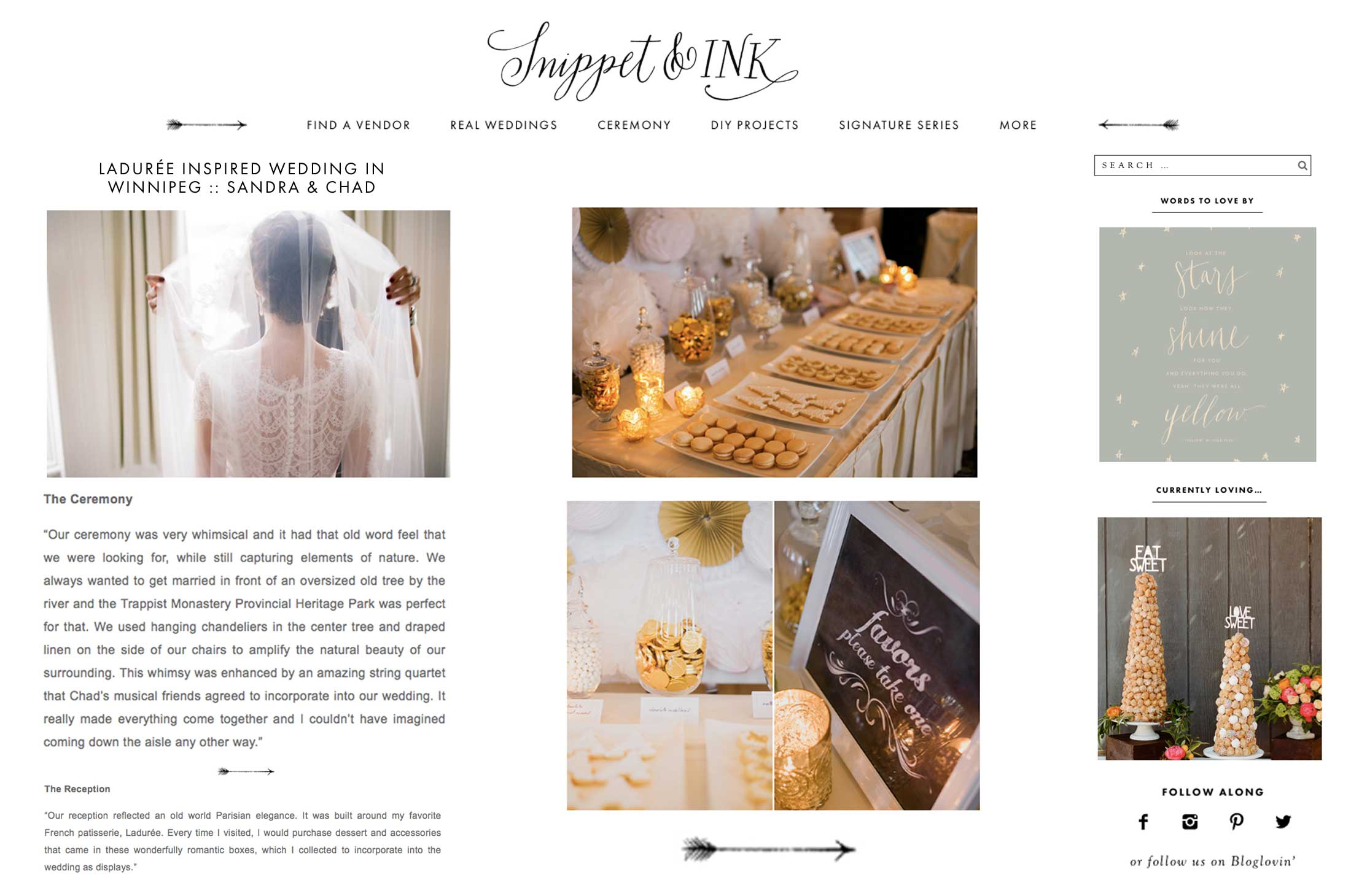 Winnipeg Wedding Planner and Inspiration Feature: Snippet + Ink