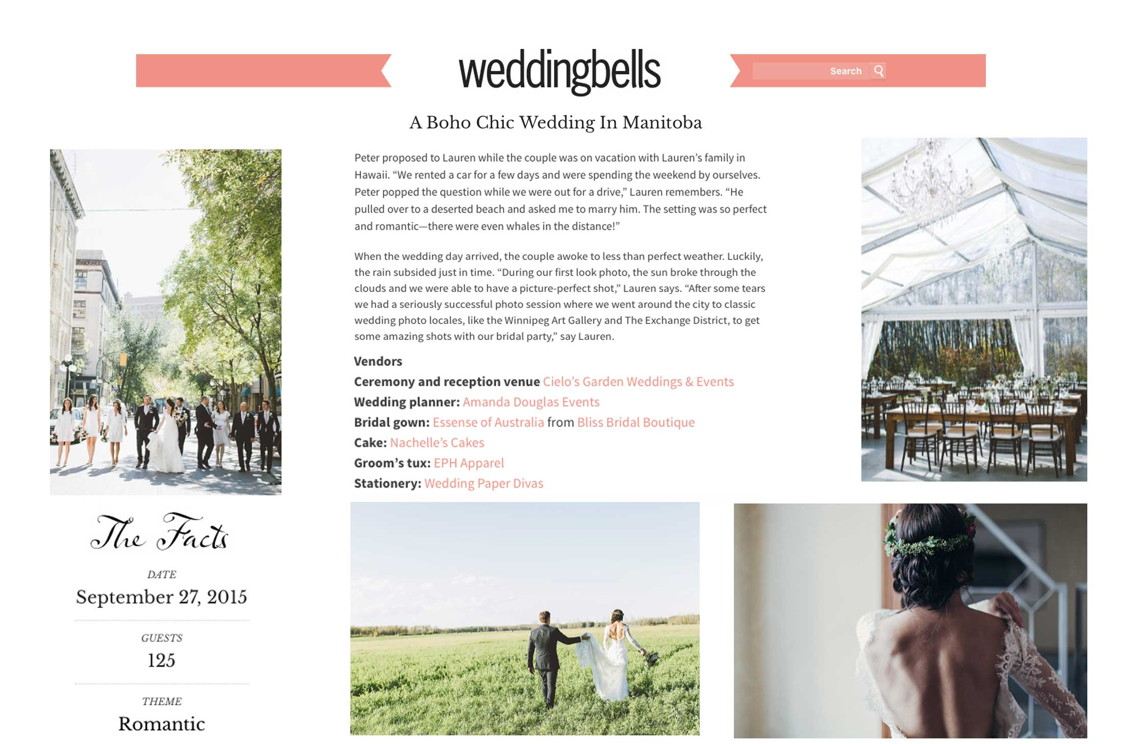 Winnipeg Wedding Planner and Inspiration Feature: Wedding Bells